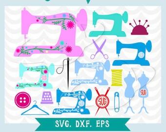 Sewing machine svg, monogram sewing machine svg, needle svg, monogram needle svg, mannequin svg, mannequin monogram svg, scissors svg, dxf