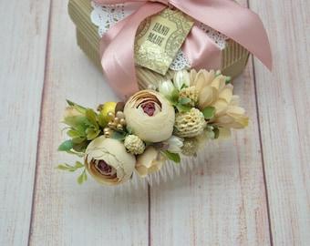 Comb, Wedding, hair accessories, Bridesmaid hair, Wedding hair comb, Bridal flower comb, hair piece,  Barn wedding, Floral comb, Bride