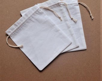 "10 Cotton Bags * Drawstring White Cotton Bag * Party Favor * Gift Wrapping* 5.5""x 7"" (14cm x 18cm)"