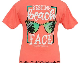 Girlie Girl Originals Beach Face Retro Heather Coral Short Sleeve T-Shirt