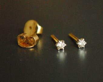 Tiny Diamond Stud Earrings. 14K Yellow Gold PUSHBACK Studs. Small Diamond Earrings. Baby Girl Studs. Lobe, Cartilage, Helix, Tragus