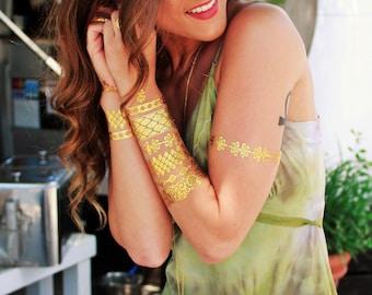 GOLD Tattoos, Gold Metallic Tattoos, Metallic Gold Tattoos, Temporary Tattoos, Gold Temporary Tattoos, Temporary Gold Tattoos, Metallic Gold