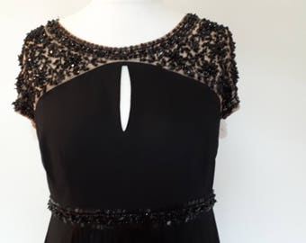 Vintage maxi dress 90s by No 1 Jenny Packham black dress with heavily beaded neckline, sleeves and waist band size large