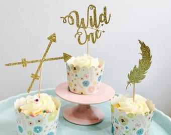 12ct Wild one cupcake toppers, cochella cupcake toppers, feather cupcake toppers, first birthday cupcake toppers, birthday cupcake toppers