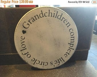 ON SALE Distressed wood grandchildren sign - grandchildren complete life's circle of love - gift for grandparents - gift for grandma - gift