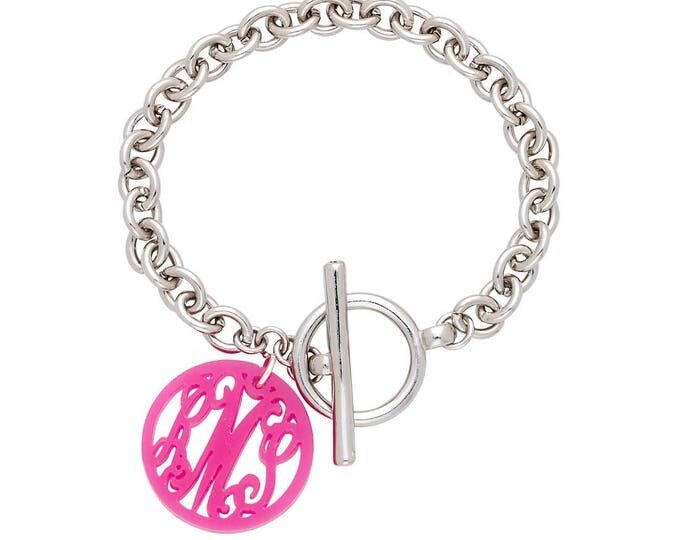 Monogram Silver Toggle Bracelet, Custom Monogram Bracelet, Personalized Silver Toggle Bracelet, Acrylic Disc in Your color, 7 inches