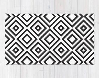 Black and White area rug geometric modern rug 2x3 3x5 4x6 area rug flat weave throw rug bold dorm decor rug bedroom rug