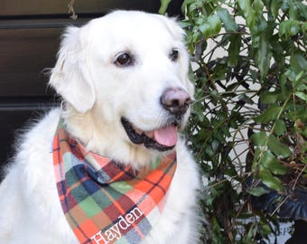 Personalized Flannel Orange Navy and Green Plaid Dog Bandana  || Pet Gift by Three Spoiled Dogs