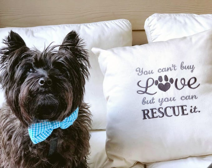 Featured listing image: You Can't Buy Love But You Can Rescue It  -  Dog Themed Throw Pillow - Accent Pillow -  Gift by Three Spoiled Dogs