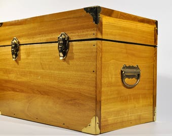 Handcrafted Wooden Flat Top Chest with handles, Treasure chest /vintage Trunk Treasure Chest