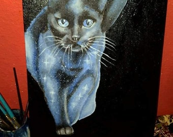 Hand painted Galaxy cat