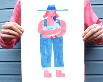 Happy dog chicken farmer, red and blue art print, cute illustration print, A3 print, A4 print, colourful, hen, pooch, animals, fun, kawaii