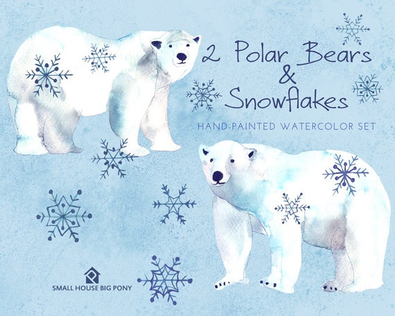 Watercolour Clipart: Winter Clip art, Watercolour Clip Art/animal/Individual PNG files/Hand Painted- 2 Polar Bears and Snowflakes