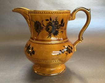 "6"" Lord Nelson English Pottery Golden Brown Vintage Cruet Pitcher Jug"