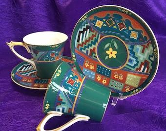 Pair of Vintage Hancock Signora Bone China Tea Cups Deco