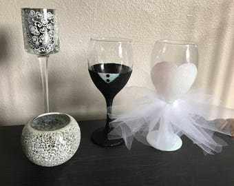 Set of Bride & Groom Wine Glasses