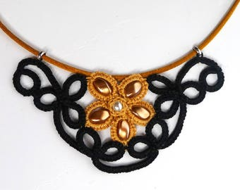 Black and Tan lace tatting necklace