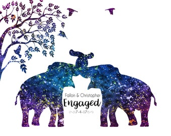 Personalized Engagement gift for a couple Elephant engagement prints