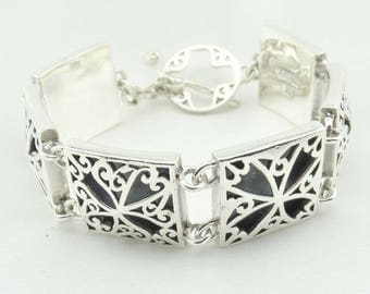 """Say """"I Love You"""" With This Vintage BARSE Sterling Silver Heart Designs Link Bracelet FREE SHIPPING! #BARSE1-LB4"""