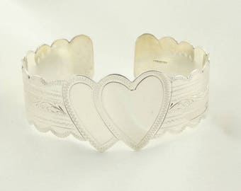 Vintage Double Heart Signet Sterling Silver Cuff Bracelet FREE SHIPPING!  #2HEARTS-CF2