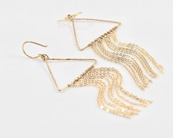 Gold Triangle and Chain Earrings