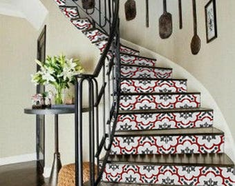 "Stair Riser Stickers - Removable Stair Riser Vinyl Decals - Genova Rouge Pack of 6 - Peel & Stick Stair Riser Deco Strips - 48"" long"