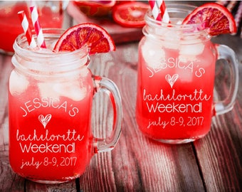 Bachelorette Party Mason Jar Favors Personalized