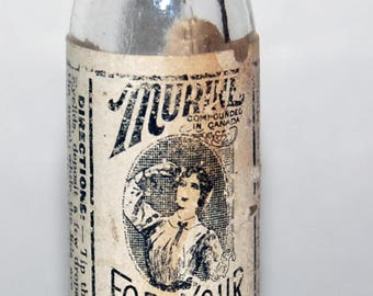 Old Murine Eyedrops Bottle with Paper Label -- Free Shipping!