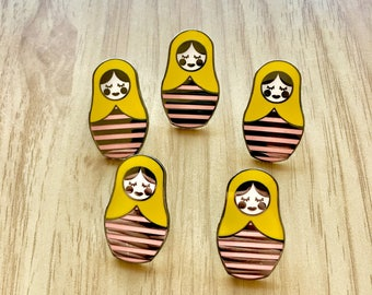 Hard Enamel Nesting Doll Pins