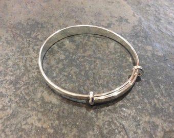 Adjustable Bangle Bracelets with wide width bangle and diamond cut detail Unique bangle bracelets