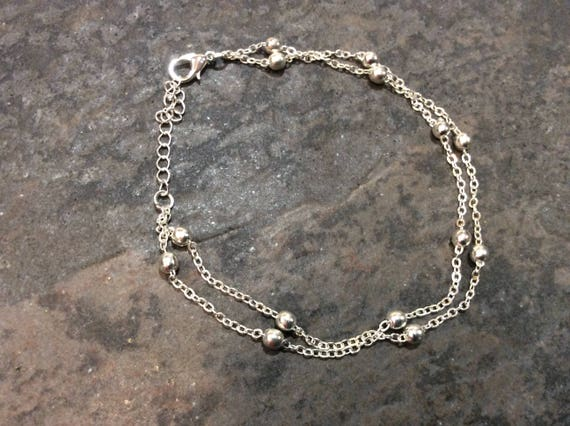 faywestdesigns bracelets midnight ankle silver black anklet adjusts teardrop pin by sterling