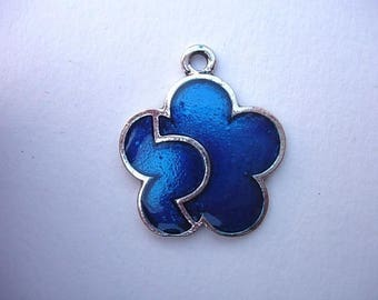 Blue colored enameled metal flower charm