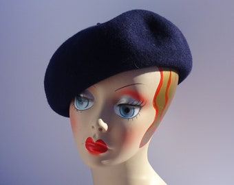 Women's Wool Beret Navy 1930's Look