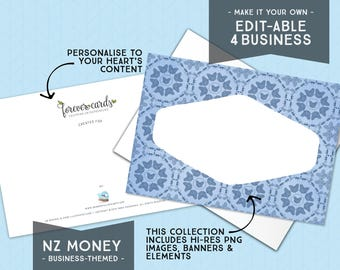 Editable for Business   NZ Money Theme   Blue   Entrepreneur   Finance   Forever Cards   Single Use License included   Instant Download