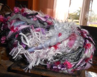 "Handspun yarn: mohair, Merino, silk ""Columbine""."