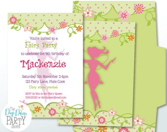 Fairy Garden Party Printable Invitation in Pink & Green, 5x7in. Instant Download and DIY Edit with Adobe Reader DC