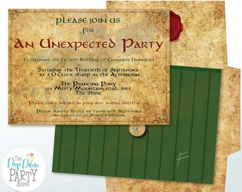 Middle Earth Unexpected Party Printable Invitation, 5x7in. Instant Download