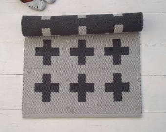 Swiss Cross Rug, Plus Sign Rug, Accent Rug, Grey Cotton Rug, Handmade, Extra Thick, Double Sided, Woven on the Loom, Made to Order
