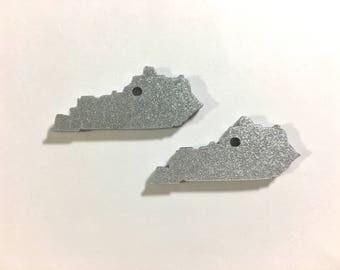 1.5 Inch One Hole Kentucky Blanks in SILVER GLITTER, wire bangle bracelets, jewelry making, kentucky bracelets, kentucky gifts