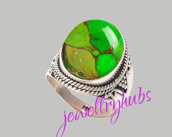 Green Turquoise Ring, Copper Turquoise Ring, Handmade Ring, Turquoise Stone Ring,925 Sterling Silver, Silver Ring, R23TRG