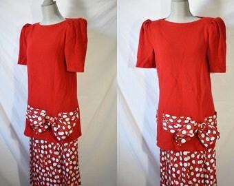 Vintage 80s Red Maxi Dress Golden Girls Dress 80s Secretary Dress Quirky Cocktail Dress 80s Prom Dress New Wave Office Dress