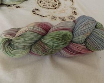 Hand dyed OOAK sock weight superwash merino/nylon yarn Rose base (Pansy)