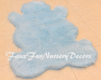 TEDDY BEAR RUG Faux Fur Nursery Bearskins Shaggy Furs Colors Modern  Contemporary Home Living Decors Plush
