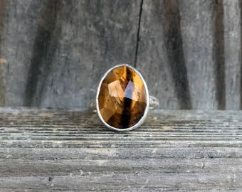 Tigers Eye Ring - Sterling Silver Ring - Tiger Eye - Brown Gemstone Ring - Golden Ring - Tigers Eye Jewelry - Faceted Ring - Everyday Ring