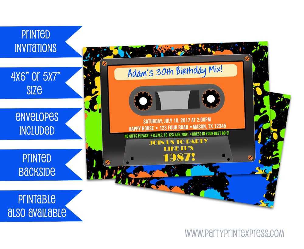 80s Cassette Tape Invitations Casette Invite Boy 80s Party