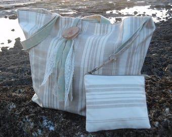 Laminated linen ticking stripe beach bag