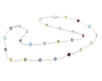 "Solid 14k White Gold By The Yard Necklace 18"" Gemstones Station Necklace"