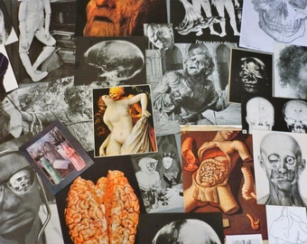 33 ephemeral  macabre - death heads and others - pack collage, scrapbooking, mixed art, journaling