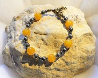 Jade and pyrite bracelet