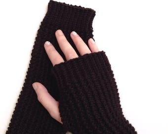 Long Brown Knitted Arm Warmers | Women's | Winter Gifts